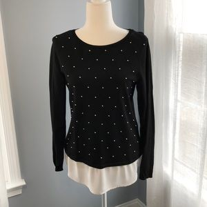 WHBM sweater with pearl details